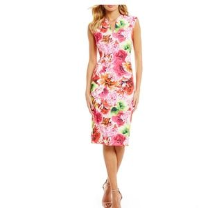 CeCe floral tropic scuba midi sheath dress